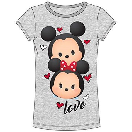 Disney Mickey Mouse & Minnie Mouse Heads Junior T Shirt Heather Grey Tee