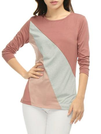 Unique Bargains Women 39 S Round Neck Long Sleeves Color