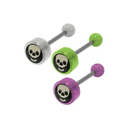 Barbell Head - Skull Head Logo Barbell Tongue Ring