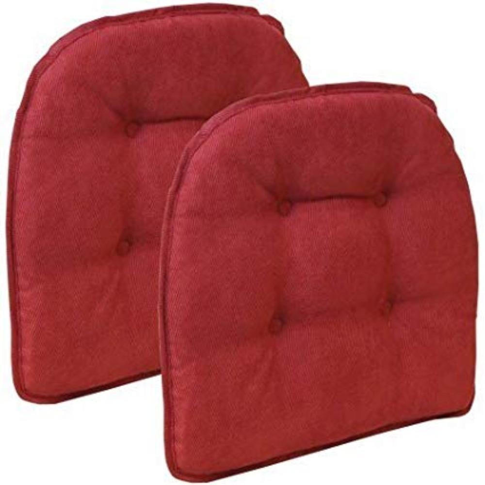 "Non Slip 15"" x 16"" Nouveau Tufted Chair Cushions, Set of 2- red, Polyester By Gripper"