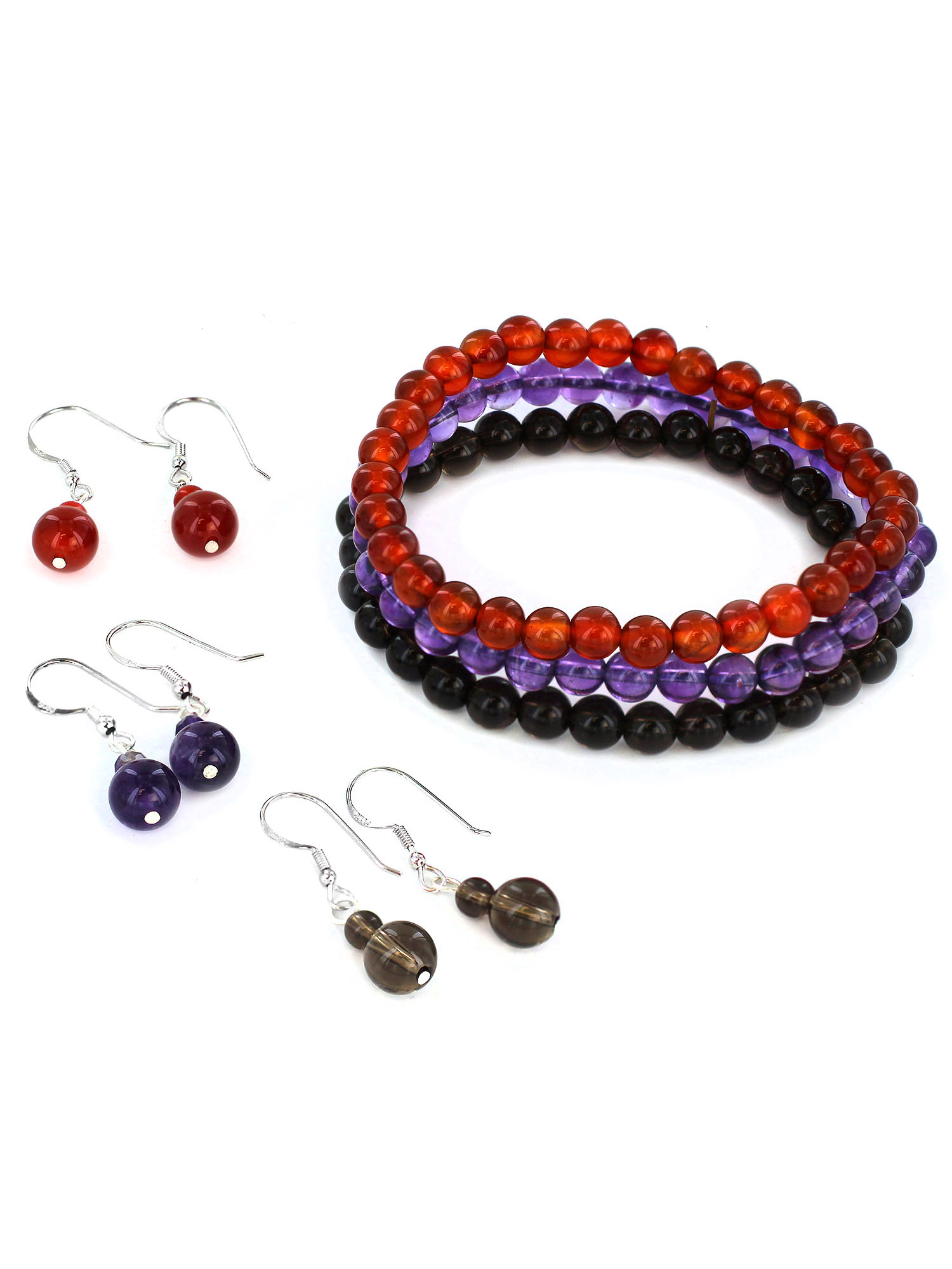 Women's Beaded Bracelet and Earring Set (Set of 3)