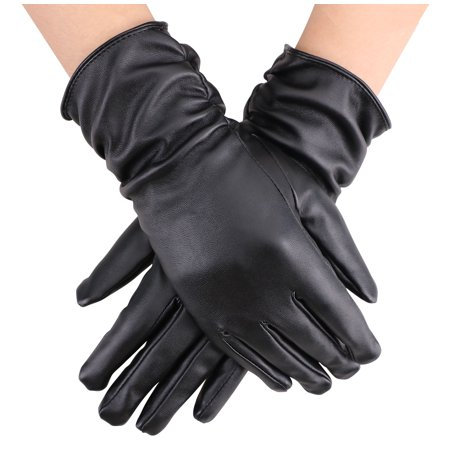 Women Faux Leather Winter Warm Thermal Lining Gloves  Black