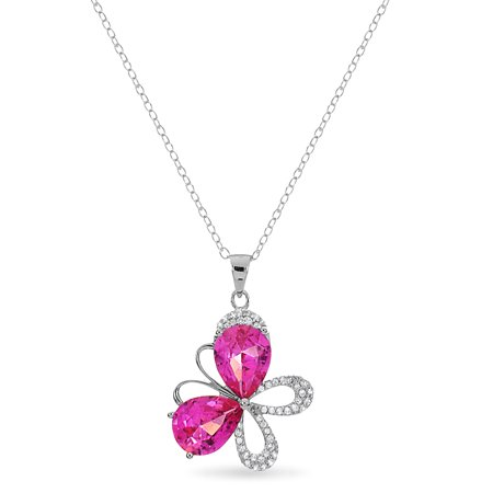 Sterling Silver Pearshaped Created Pink Sapphire Butterfly Necklace 18