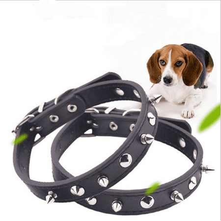Studded Cat Collars (Zerone Pet Adjustable Collar PU Leather Studded Spiked Buckle Cat Puppy Dog Collar Rivet Strap Black, Dog Collar, PU Leather Pet Collar)