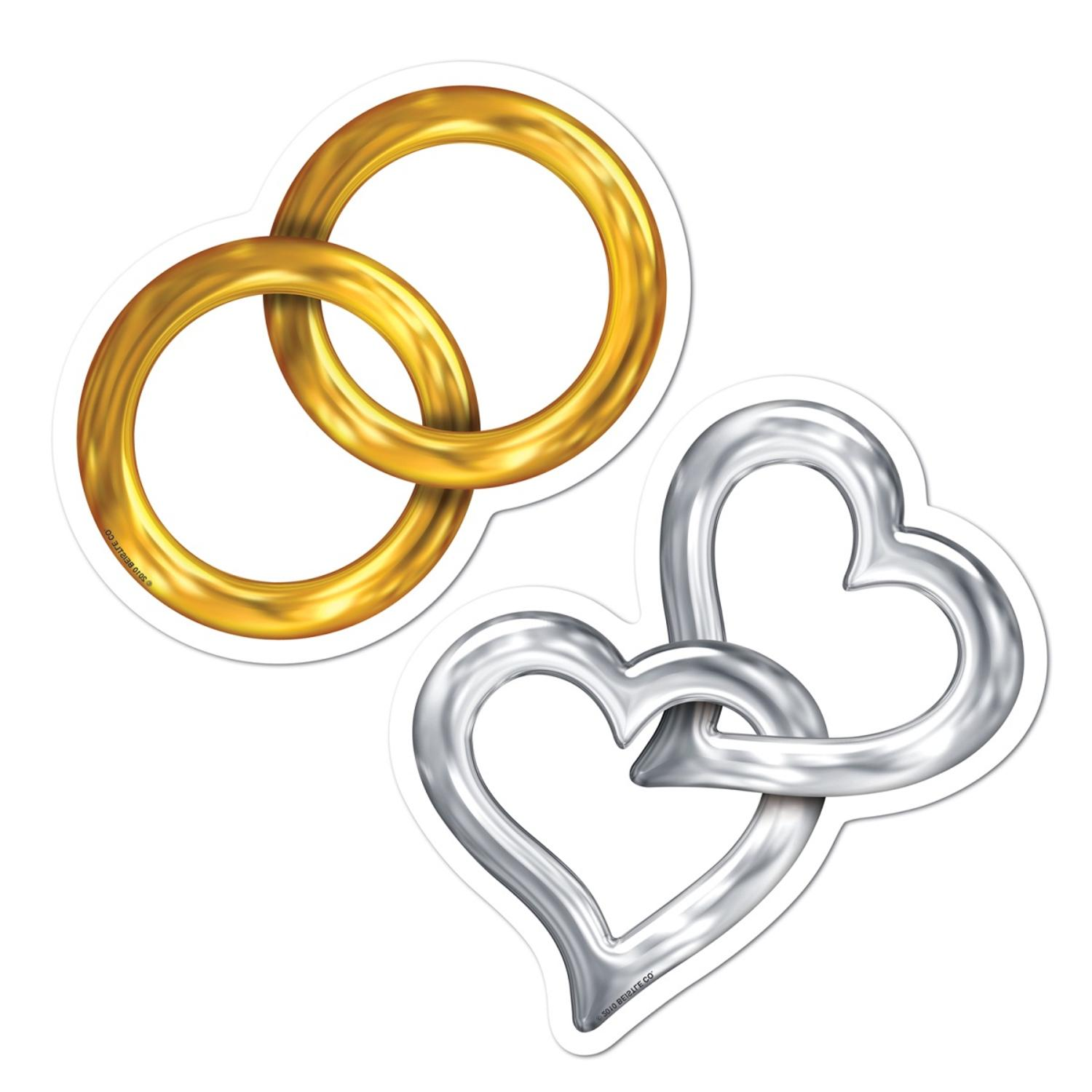 Club Pack of 240 Gold Rings and Silver Hearts Mini Wedding Cutout Party Decorations 5""