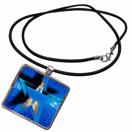 3dRose Circle in a Star and Layered on a Blue Crackled Sky - Necklace with Pendant (ncl_39130_1)