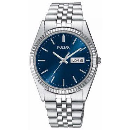 - Mens Stainless Steel Case and Bracelet Blue Dial Silver Watch - PXF303