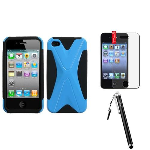 Insten Natural Turquoise/Black Dual X Phone Case For iPhone 4 4S + Stylus + LCD Film
