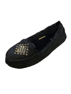 Cejon Womens Black Studded Moccasin Slippers Small (5-6)