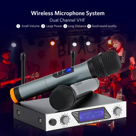 archeer vhf wireless microphone receiver system 2 channel with adjustable volume control two. Black Bedroom Furniture Sets. Home Design Ideas
