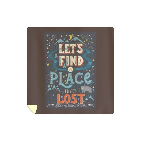 Great Smoky Mountains National Park, Tennessee - Let's Find a Place to Get Lost - Lantern Press Artwork (88x88 Queen Microfiber Duvet (Best Place To Get Bedding)