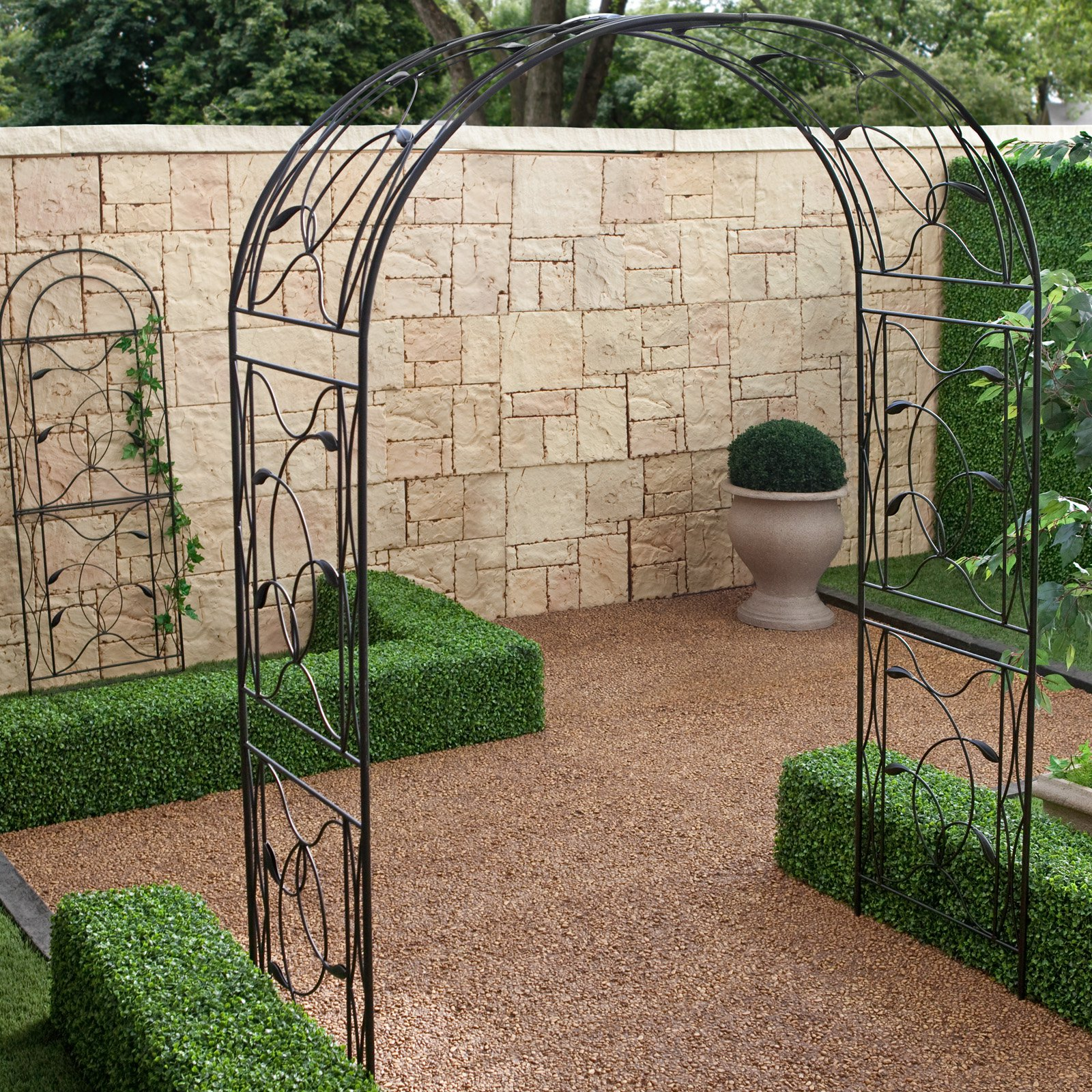 Coral Coast Willow Creek Metal Arbor Black by Chi Wing Rattan Factory