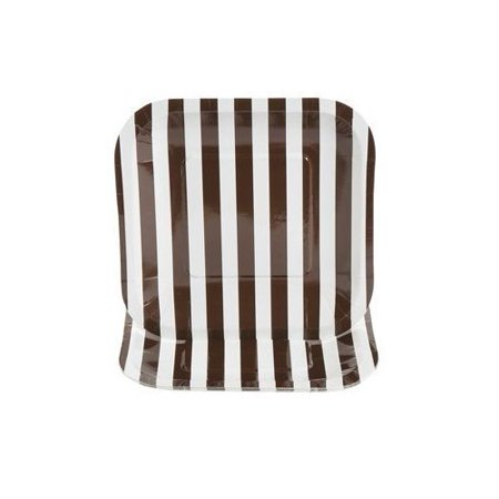 Chocolate Brown Striped Square Dessert Plates - Wedding Supplies & Reception Tableware