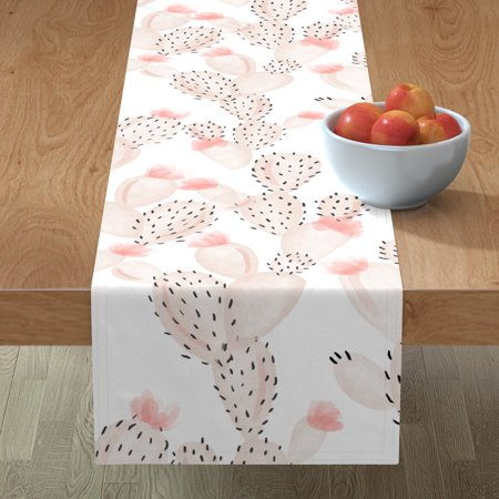 Image of Table Runner Blush Cactus Pink Cactus Cactus Cotton Sateen