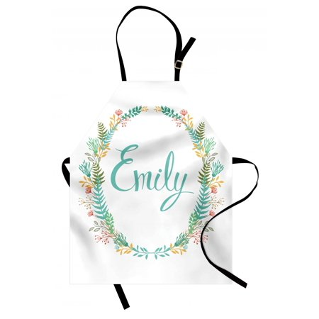Emily Apron Composition of Popular English Girl Name with Vintage Design Inspirations Leaves, Unisex Kitchen Bib Apron with Adjustable Neck for Cooking Baking Gardening, Multicolor, by Ambesonne