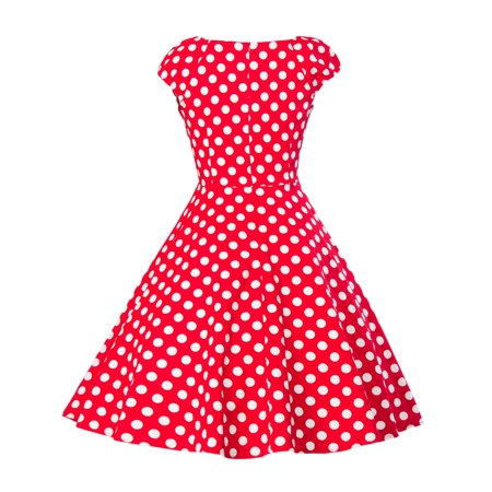 Women Polka Dot Vintage Dress Retro 50s 60s Style Sleeveless Pin up Evening Cocktail Party Prom Rockabilly Swing Dresses (60s 70s Dress Up)