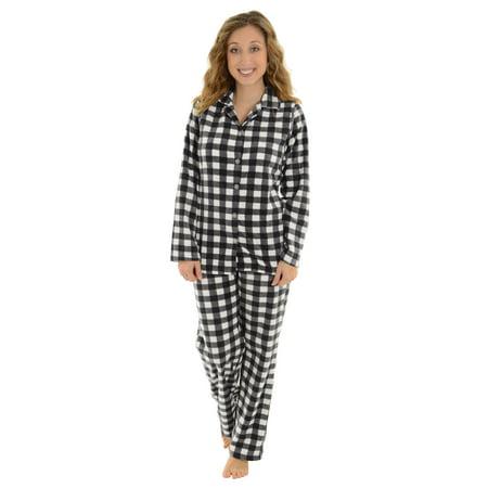 31354383770 Totaly Pink - Womens 2 Piece Plaid Black White Pajamas Set Soft Microfleece  Sleepwear - Walmart.com
