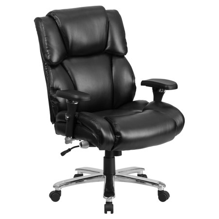 Sharp Series Leather - Flash Furniture HERCULES Series 24/7 Intensive Use, Multi-Shift, Big and Tall 400 lb Capacity Black Leather Executive Swivel Chair with Lumbar Support Knob