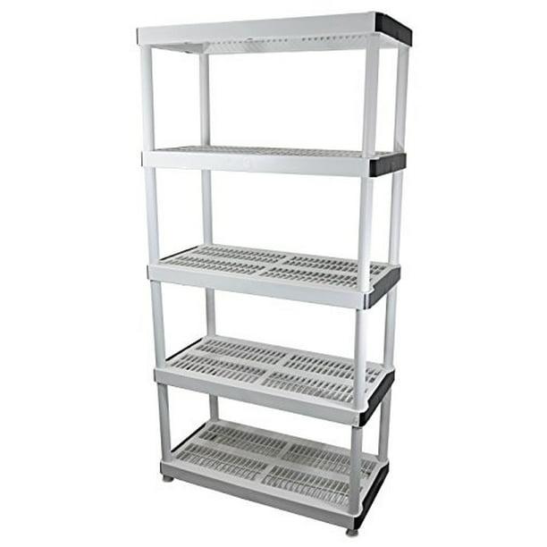 Hdx 5 Shelf 36 In W X 72 In H X 18 In D Plastic Ventilated Storage Shelving Unit Walmart Com Walmart Com