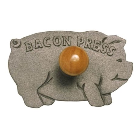 "Cast Iron Pig Shaped Bacon Press with Wood Handle, Measures: 8.25 x 5 x 3"" / 21cm x 13cm x 7.5cm By Norpro"