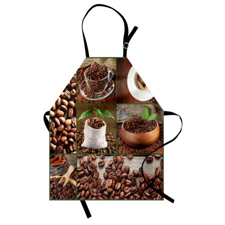 Brown Apron Collage of Coffee Beans in Cups and Bags with Green Leaves on Wooden Table Photo, Unisex Kitchen Bib Apron with Adjustable Neck for Cooking Baking Gardening, Brown Green, by Ambesonne