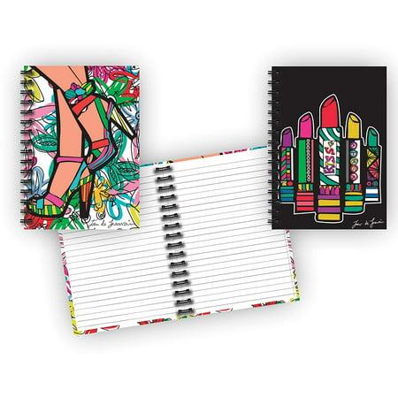 Spiral Bound Glitter Cover Hardback Notebook Set (2 Notepads Total) 8 1/2