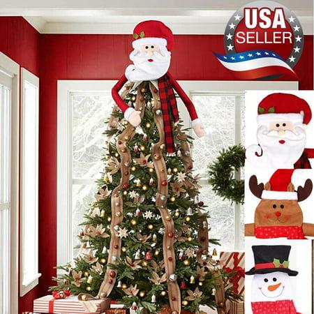 Santa Elk Snowman Christmas Tree Topper Decoration Festival Holiday Tree Ornament ()