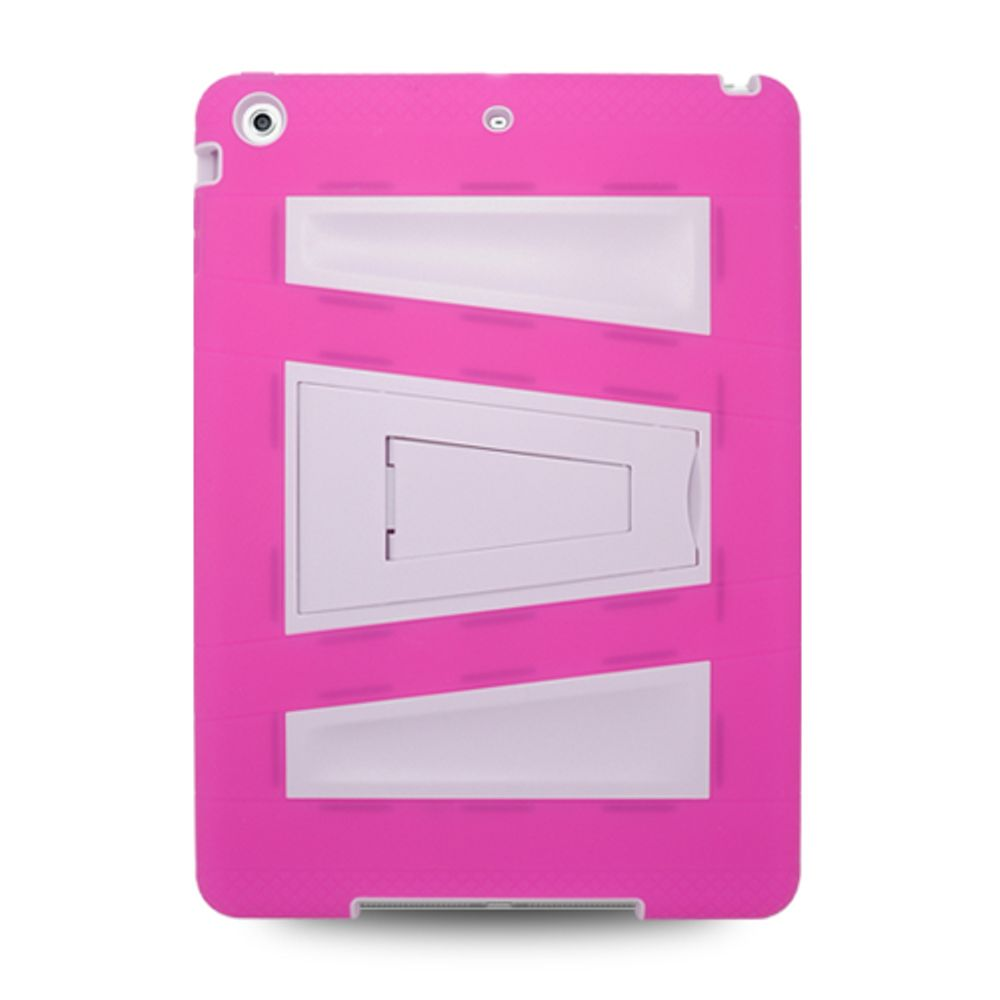 iPad Air Case cover, by Insten Hybrid Dual Layer Stand Rubber Silicone/PC Case Cover For Apple iPad Air - Hot Pink/White - image 3 de 3