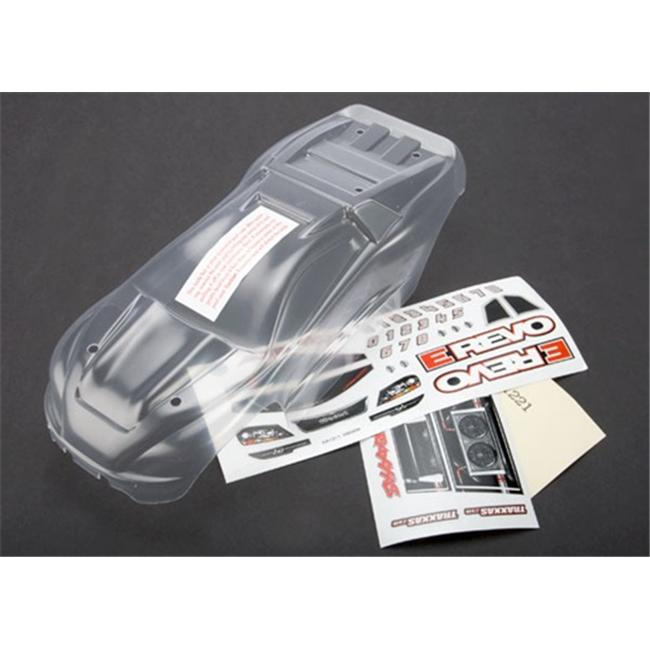 Traxxas TRA7111 Clear Body 1-16 E-Revo with Grill and Lights Decal Sheet