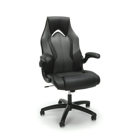 OFM Essentials Racecar Style Swivel Leather Gaming Chair, Gray