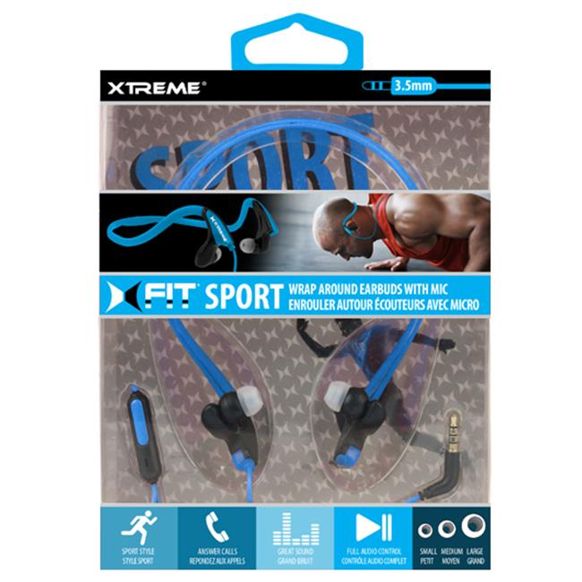 Xtreme Cables 94633 Wrap Around Sports Earbuds - Black & Blue