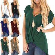 Womens Casual V Neck Short Sleeve T-shirt Knot Loose Blouse Ladies Fashion Solid Color Tunic Top