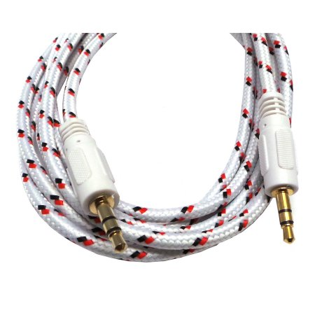 Braided Gold Plated 3.5mm Plug Male to Male Stereo Auxiliary Aux Cord Cable (12ft) for Beats Headphones, iPods, iPhones, iPads, Home / Car Stereos and More - Pink