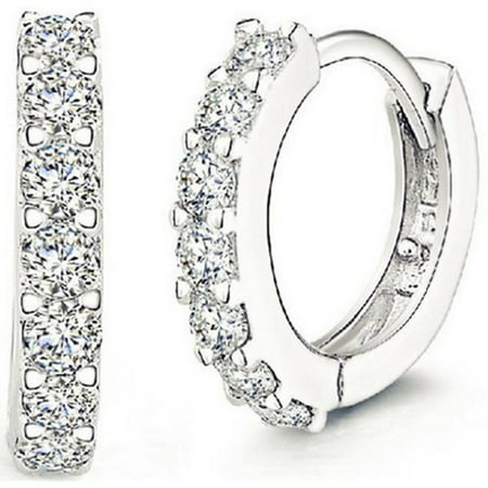 Men Women Fashion Jewelry 925 Sterling Silver Sparkling Rhinestones Hoop Diamond Stud Earrings Huggie (Art Deco Rhinestone Earrings)