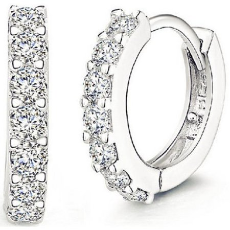 Men Women Fashion Jewelry 925 Sterling Silver Sparkling Rhinestones Hoop Diamond Stud Earrings Huggie Gift