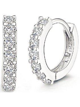 Men Women Fashion Jewelry 925 Sterling Silver Sparkling Rhinestones Hoop Diamond Stud Earrings Huggie Gift