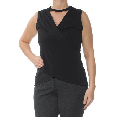 RACHEL ROY Womens Black Cross Front Sleeveless Keyhole Top  Size: L