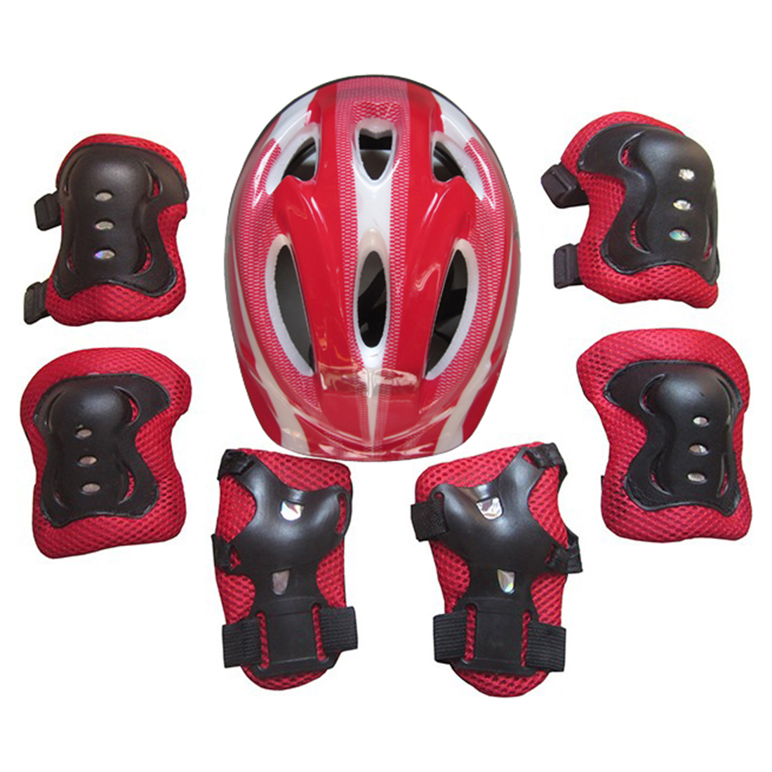 7Pcs Ice Skates Protective Gear Helmet Set for 5-13 Year-old Children Red by