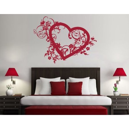 Spring Heart Wall Decal floral and romantic wall decal sticker mural v