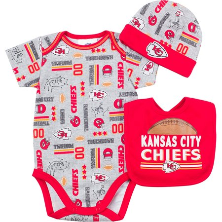 NFL Kansas City Chiefs Bodysuit, Bib & Cap Set (3 Piece), 3-6 Months, Gray, 60 percent cotton/40 percent Poly Interlock By (60 Cap Set)