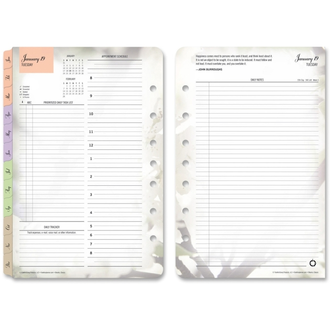 """Franklin Covey Blooms Daily 2PPD Planner Refills, Jan-Dec,5-1/2""""x8-1/2"""" - FDP35444"""
