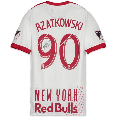 James Autographed Red Custom Jersey - Marc Rzatkowski New York Red Bulls Autographed Match-Used White #90 Jersey vs. Columbus Crew SC SC on July 28, 2018 - Fanatics Authentic Certified