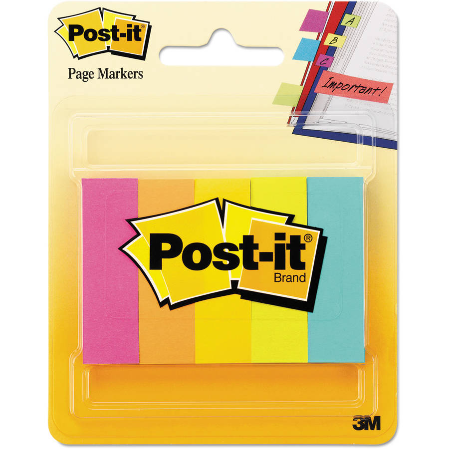 Post-it Page Markers, Five Neon Colors, 5 Pads of 100 Strips/Each, 500/Pack