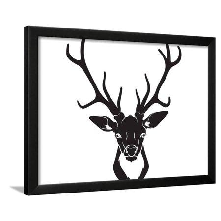 Deer Head Isolated Framed Print Wall Art By VasilkovS ()
