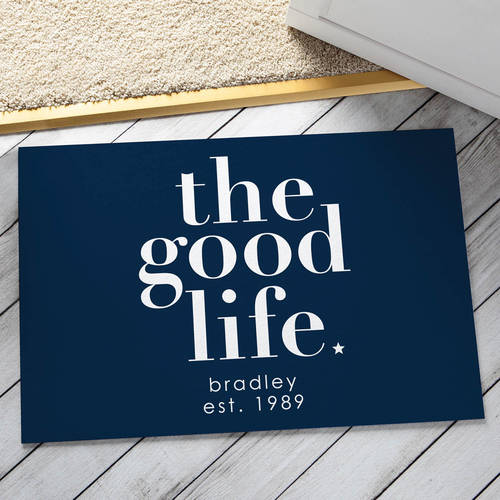 Personalized Doormat - The Good Life Available In Multiple Colors