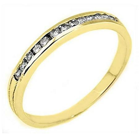 14k Yellow Gold .25 Carats Brilliant Round Channel Set Diamond Wedding Band Set Brilliant Diamond