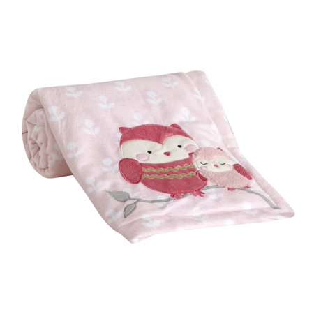 Lambs & Ivy Woodland Couture Luxurious Pink Coral Fleece Owl Baby Blanket
