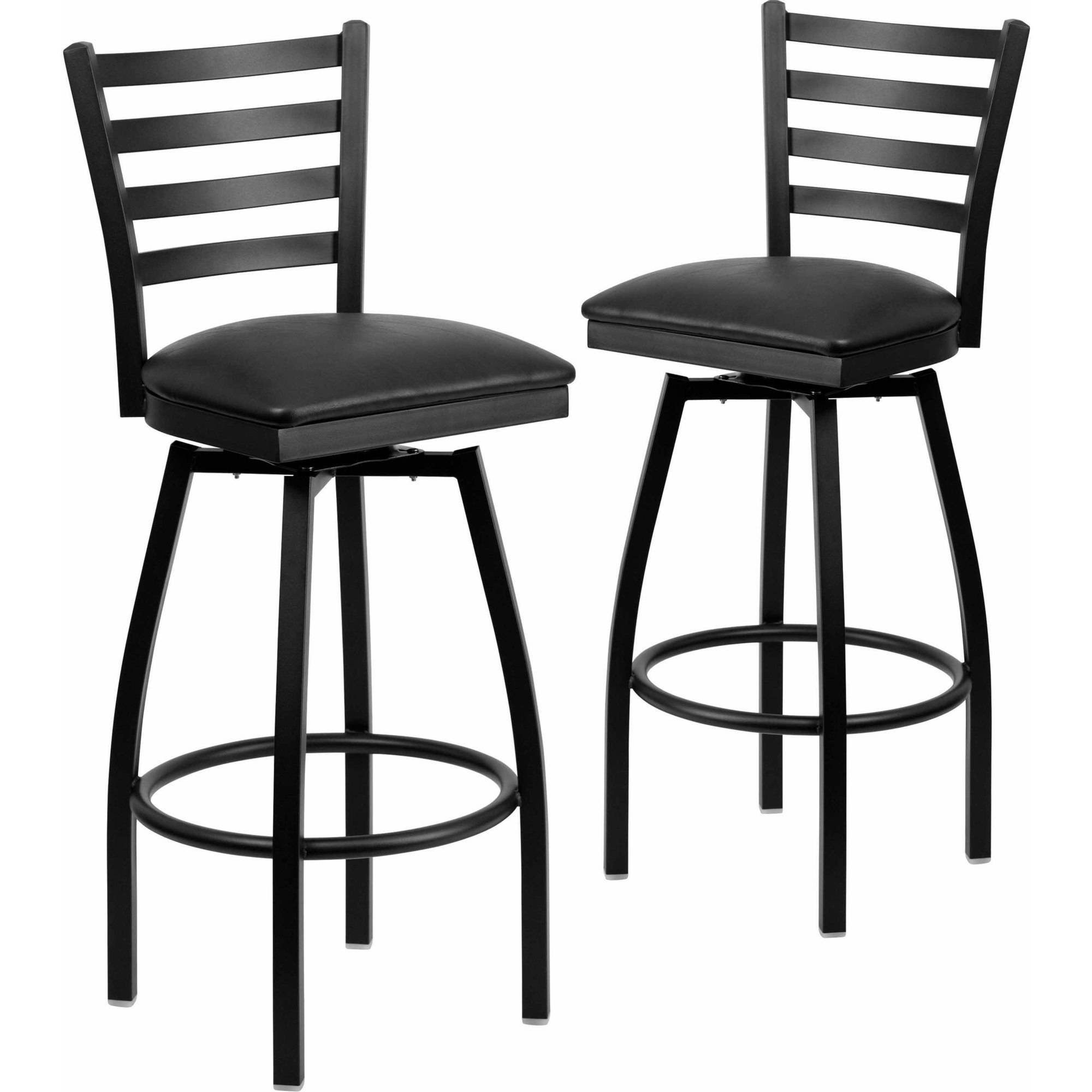 Flash Furniture 2-Pack HERCULES Series Black Ladder Back Swivel Metal Barstool, Vinyl Seat, Multiple Colors
