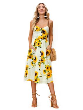 024fa99faa82 Product Image Women Holiday Strappy Floral Maxi Dresses Summer Beach Party  Midi Swing Sundress. Product Variants Selector. Yellow