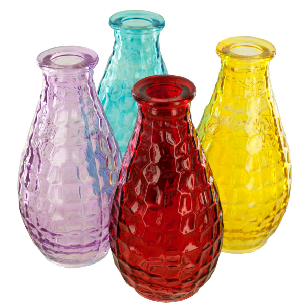 Square Texture Glass Bottle Vase (Pack Of 24)